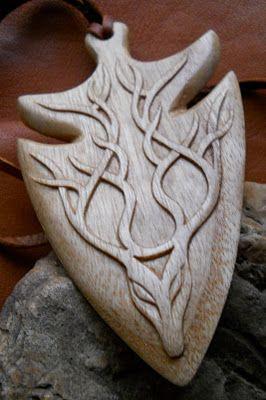 Cernunnos and Lugh Talisman hand carved in Ash .