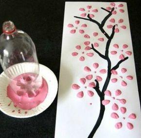 jak namalovat strom, kvetoucí strom, razítka, malování s dětmi