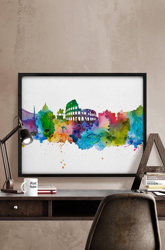 Rome skyline watercolor