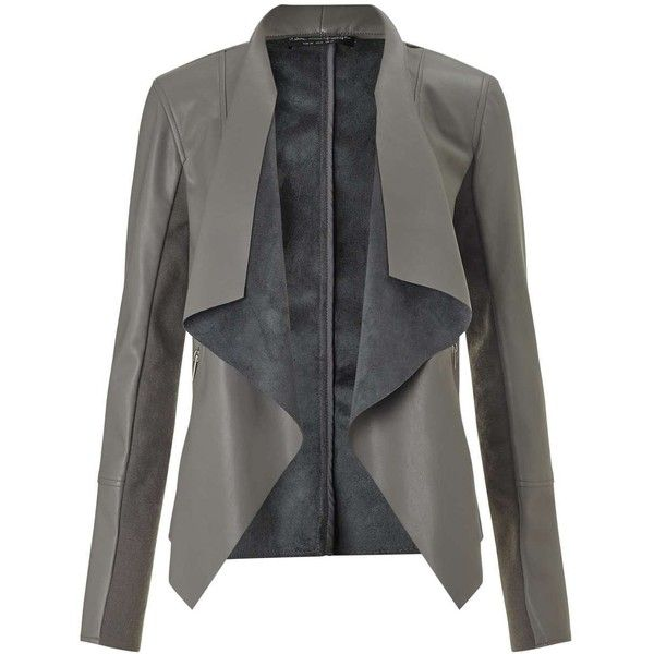 Miss Selfridge Grey Waterfall Jacket (5.615 RUB) ❤ liked on Polyvore featuring outerwear, jackets, grey, grey faux leather jacket, moto jacket, faux leather moto jacket, biker jacket and vegan motorcycle jacket