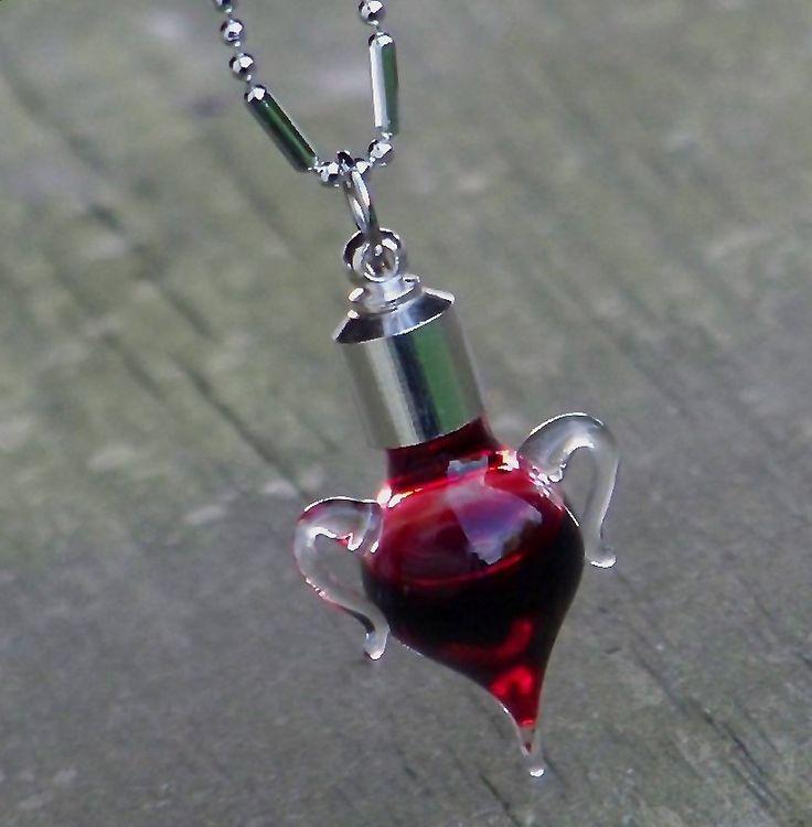 TRUE BLOOD Gothic Vampire Amphora Charm Bottle Pendant Necklace for Sex Magic, Gothic Rituals, Vitality. $21.95, via Etsy.