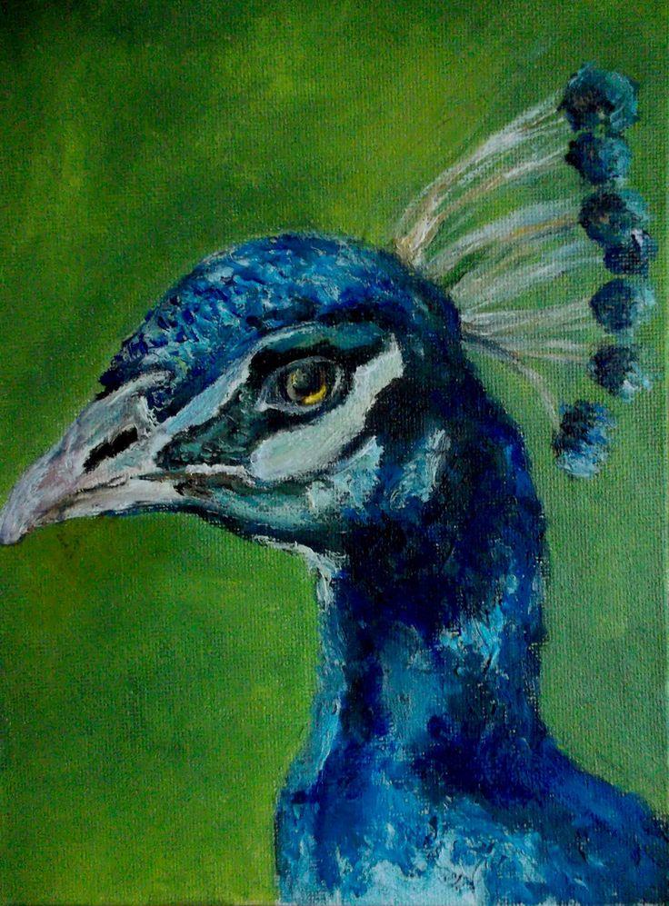 Миниатюра, птица павлин картина маслом, oilpainting bird peacock by teslimovka on Etsy