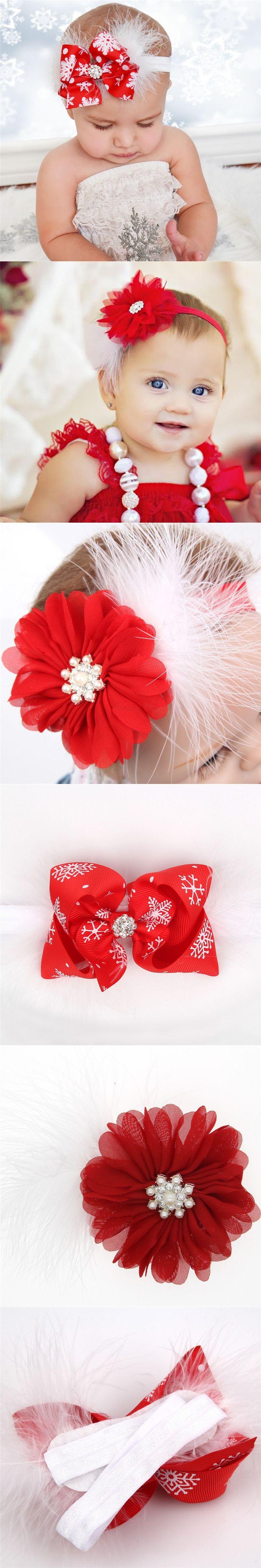 Baby Christmas elastic Headband Feather Bow Snow Flower Girls HairBand Toddler Headwear headdress Hair Accessories $1.08