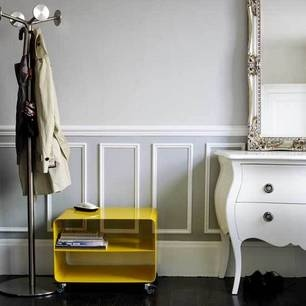 Love this hallway with the chest of drawers and the mirror..and the grey walls..