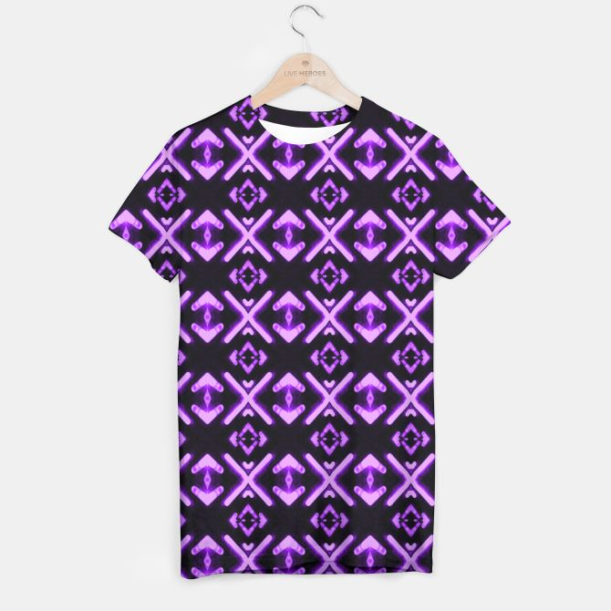 Bright neon purple pattern t shirt live heroes tees for Bright purple t shirt