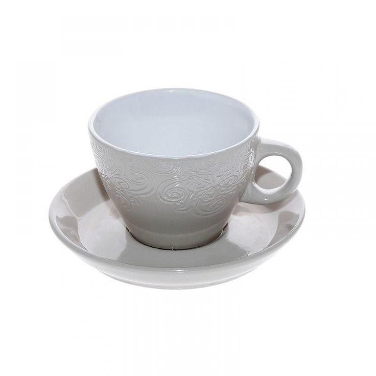 Φλιτζάνια cappuccino, μπεζ/λευκό ανάγλυφο (σετ/6) 280 cc Porcelain,dishwasher safe • Διαστάσεις: Διάμετρος 9Χ Ύψος 7 cm