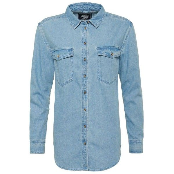 Superdry Oversized Denim Shirt ($57) ❤ liked on Polyvore featuring tops, sky blue, women, superdry shirt, long sleeve shirts, oversized tops, long-sleeve shirt and blue shirt
