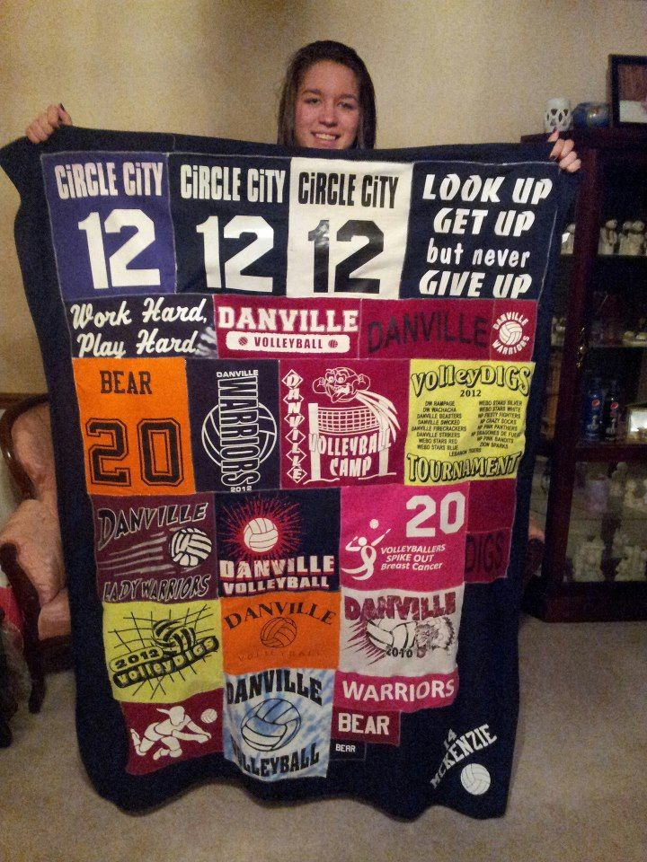 I made this quilt for my daughter.  This one is made out of just her volleyball shirts and jerseys.