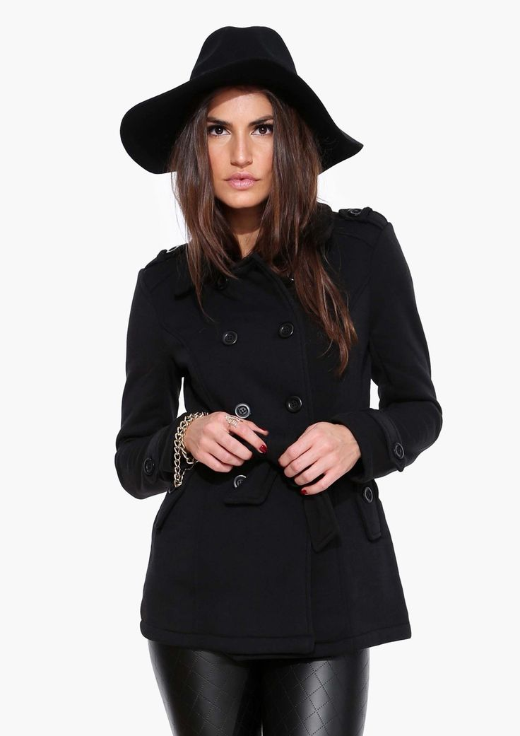 perfect fall style — black floppy hat, black pea coat, black vinyl leggings