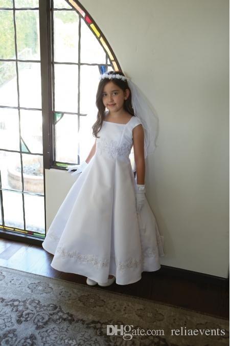 2015 Elegant Stain Beach Flower Girls Dresses White Lace Applique Vintage Children Wedding Dresses #dhgatepin