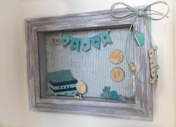 Personalized baby boy shadow box  baby room wall by Renouitas
