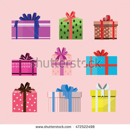 gift box birthday set present with different pattern. vector illustration 113