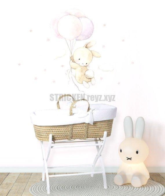 Stoff Wandtattoo Bunny Mit Ballons Bunny Wandtattoo Aquarell