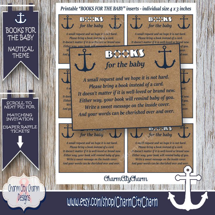 baby shower invitation wording for bringing diapers%0A Bring a Book Instead of a Card Nautical Invitation Inserts  Nautical Theme Baby  Shower Invitations