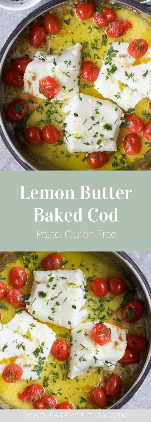 Lemon Butter Baked Cod #cod #fish #seafood #lemon #butter #baked
