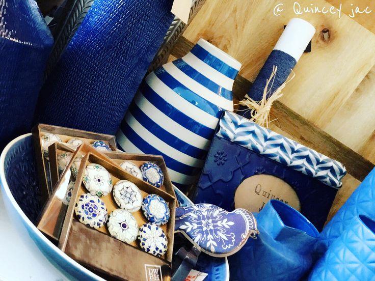 #blue #navy #indigo #birds #hooks #magnets #stripes #homedecor #gifts #quinceyjac