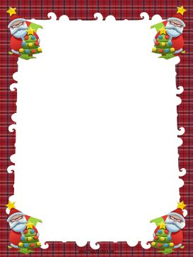 Four Santas hold decorated Christmas trees in this free, printable, winter holiday border. Free to download and print.