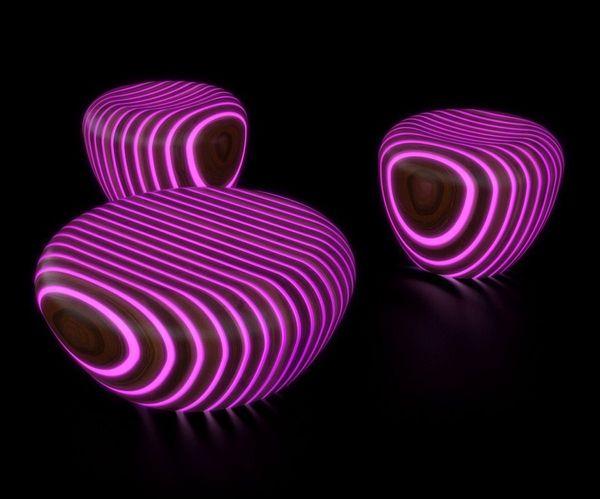 Futuristische Holz Sitzgruppe Mit Integrierter LED Beleuchtung