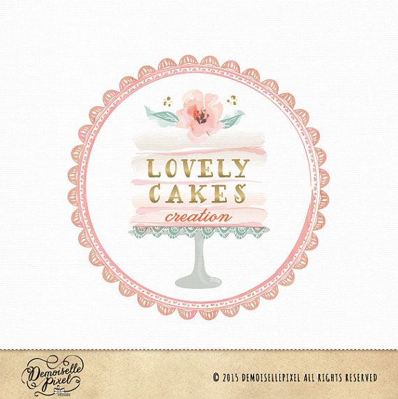 Premade Cake stand logo with watercolor flower by Demoisellepixel