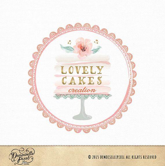 Premade logo de soporte pastel con acuarela flores, tapetes de encaje y texto de la hoja de oro