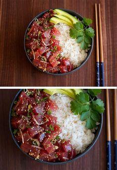 ahi tuna poke recipe | http://cookingwithcocktailrings.com @cookingwithcocktailrings