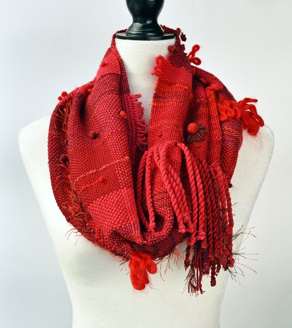 Red Wool Scarf - Boho Scarf - Winter Scarf - Infinity Cowl - Infinity Scarf - Plaid Scarf - Boho Accessories - Hand Woven Scarf - Scarves