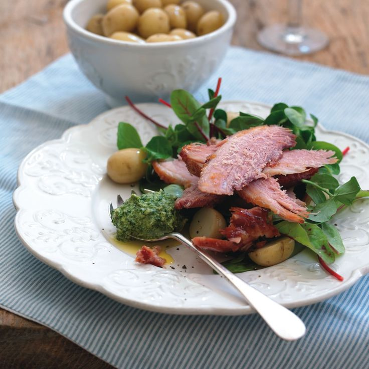 Baked Ham Salad with Fresh Herb Pesto Dressing