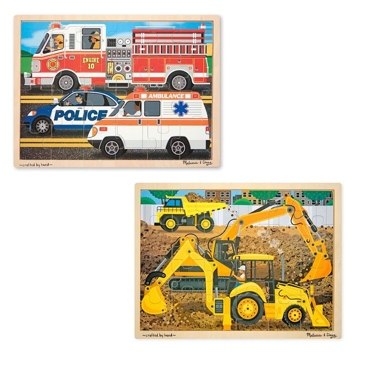Melissa and Doug Construction and Rescue Jigsaw Puzzle Set, Multicolor