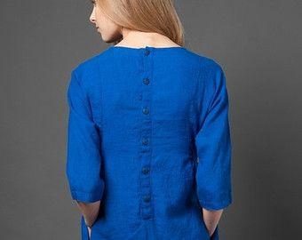 Blauwe linnen jurk - Womens jurken - vlas - natuurlijke kleding - kostuum vrouw