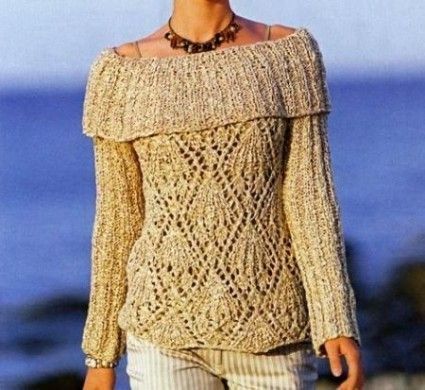 Questo lavoro a maglia vi porterà alla realizzazione di un bellissimo maglione a punto ajour e un collo alto a coste, lavorato in tondo. Scopriamo insieme le istruzioni per confezionare un capo perfetto.
