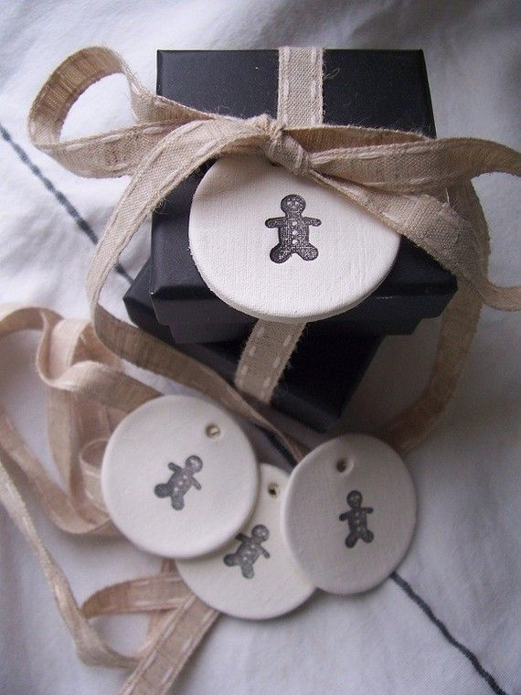 Clay gift tags $7.50 Try salt dough and stamps?