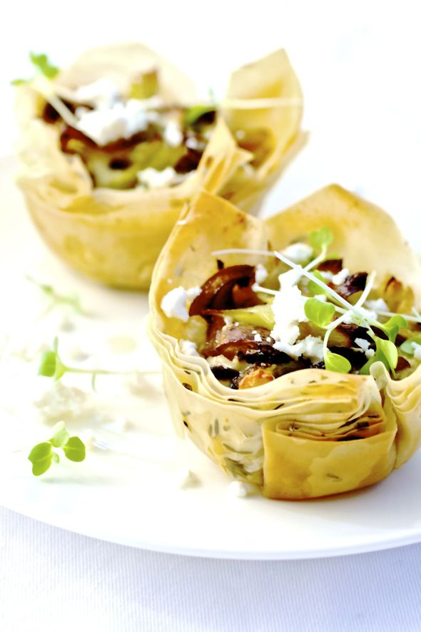 The Nocturnal Kitchen: Mushrooms & Leeks Phyllo Tarts More