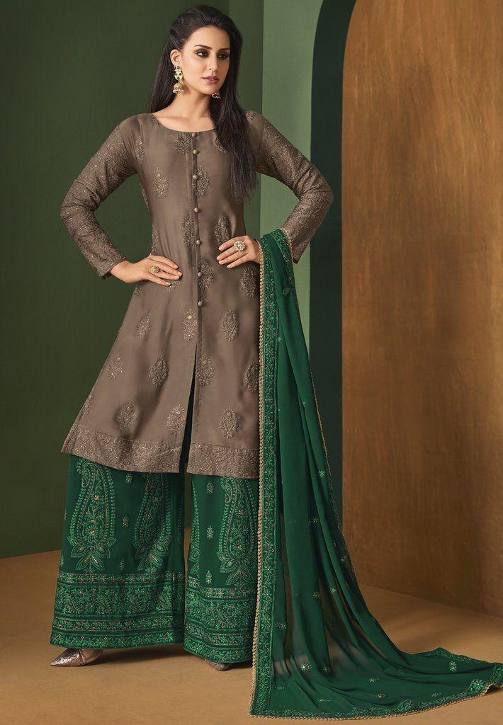 5d674af64b Green Brown Palazzo Salwar Kameez Suit (Semi-Stitched) | fashion ...