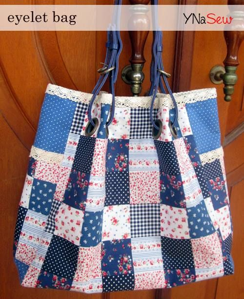 eyelet bag with patchwork fabric motif