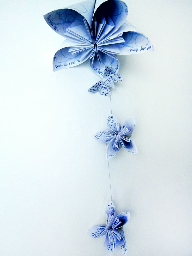 Aliki Yannaki, BUTTERFLY BLUE[S] - THE MUSIC BOUQUET: The Music Bouquet is comprised of origami flowers. Each petal contains lyrics of songs that contain the word blue (or blues) in the title. All of them create this moody blue atmosphere when you listen to them… The origami butterfly has musical notes and keys on its wings playing the part of the Music, the inspiration and the passion entwined in each melody. http://alikiyannaki.wordpress.com/2014/02/05/butterfly-blues-the-music-bouquet-2/