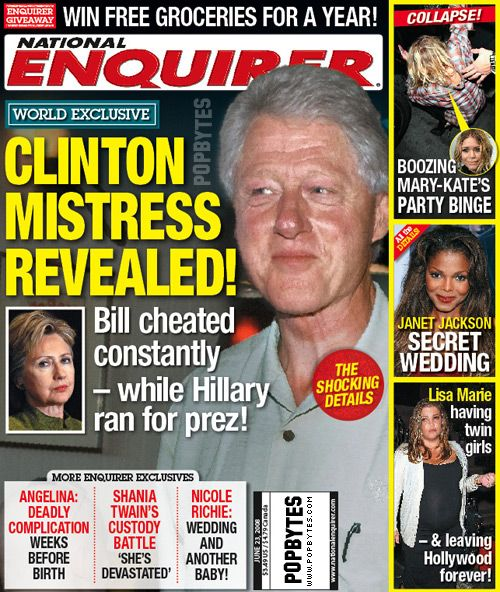 Bill Clinton National Enquirer | more bill clinton affair rumors! | PopBytes