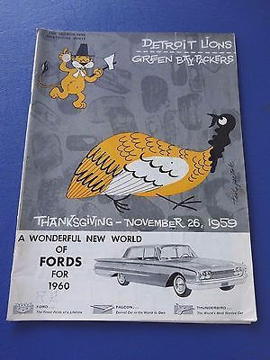1959 Green Bay Packers at Detroit Lions Football Program, Thanksgiving Day