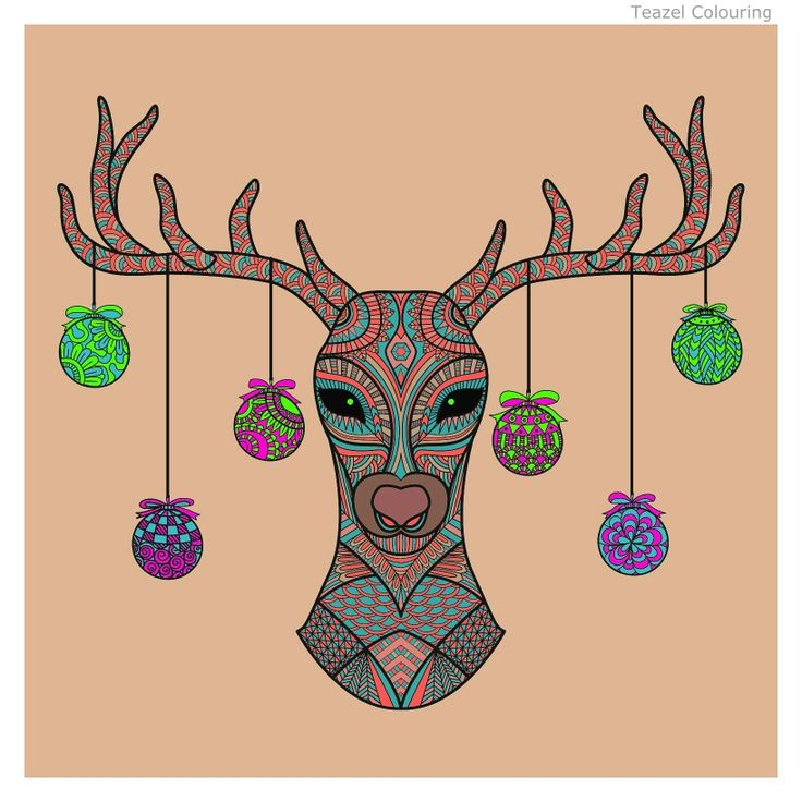 """Ornamental"" Reindeer. Coloured by Laurie Dunn .. 2016"