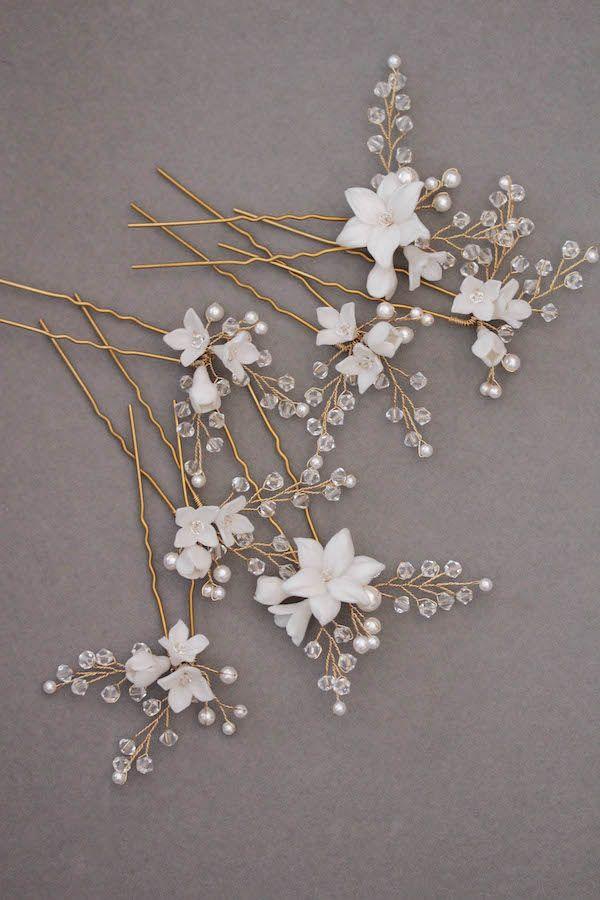 Shimmer in Gold   Gold bridal combs for bride Katherine