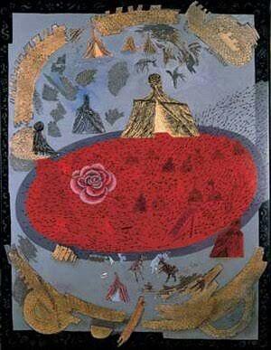 Erol Akyavaş: Kerbela Vakası,(kırmızı kompozisyon). Tuval uzerine yagliboya. 125×95cm. Ozel kompozisyon