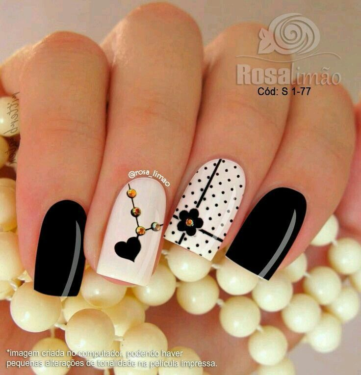 Cute black and white nail design #unaselegantes