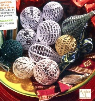 FREE DIAGRAM Crochet Christmas balls - it's in Russian, but the diagram can be interpreted