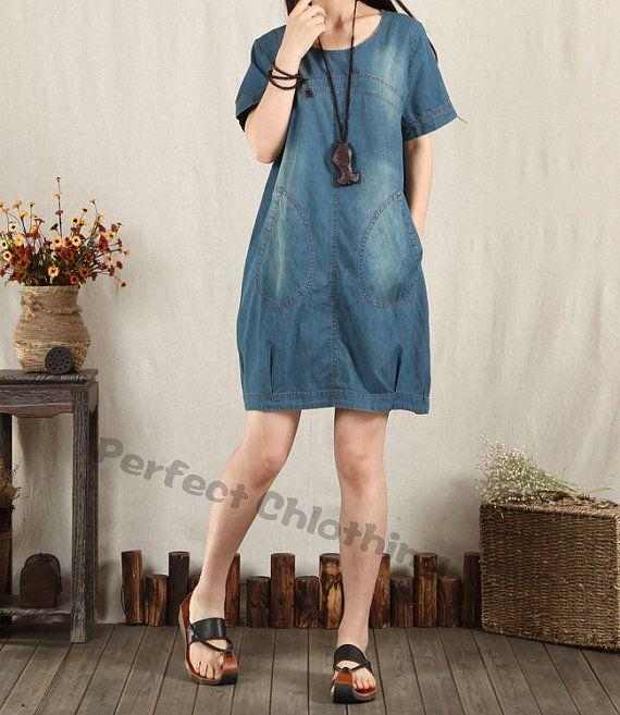 Denim+dress+Denim+shirt+short+sleeve+dress+by+PerfectChlothing,+$56.90