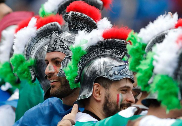 Italy supporters dressed as Roman soldiers on the stands wait for the start of the Euro 2016 Group E soccer match between Italy and Sweden at the Stadium municipal in Toulouse, France, Friday, June 17, 2016. (AP Photo/Andrew Medichini)/TOU104/669705017689/1606171446