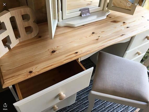 Lovely Dressing Table painted with F&B Clunch, the top has been completely sanded back to the pine and waxed along with the new handles and the chair has been recovered in a light beige fabric. ****DELIVERY IS NOT FREE**** Collection from IP30 is free If you require a delivery