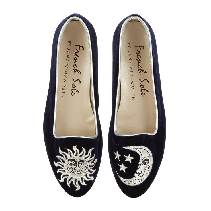 Velvet Opera Slipper in Navy. Our beautiful and opulent Opera Shoes are made from luxurious velvet with fine embroidery detail. Opera Shoes have a low slipper vamp and gorgeous metallic heel.