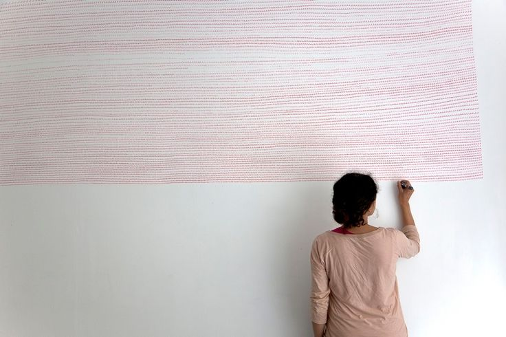 by Myriam ElHaïk  Monochrome IV, 2011felt-tip pen on wall, 380 x 180cm: Work, Interior, Illustration, Wall