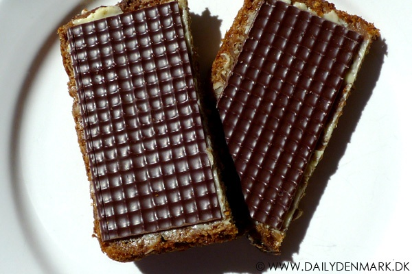 Danish rye bread with a thin layer of chocolate, pålægschokolade