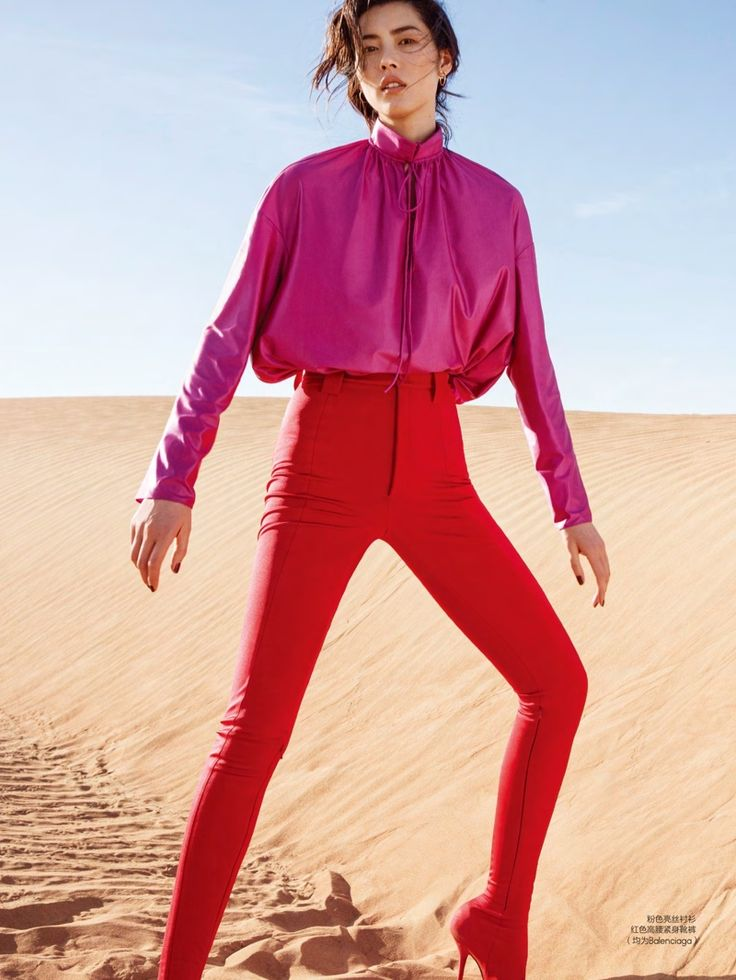 Liu Wen poses in Balenciaga top and high-waisted pants