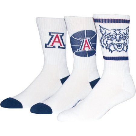 Univeristy of Arizona Men's Crew Sock 3 Pack, Size: 9-13, White